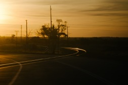 Late-afternoon sun shines off the railway tracks that criss-cross the road.