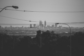 The first glimpse of Perth's CBD as you come over Greenmount.