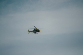 The Westpac chopper patrols the beaches of Perth looking for sharks. Cottesloe is now one of the beaches where drum lines have been placed - around one kilometre offshore - in the State Government's absurd attempt to decrease shark attacks.