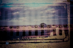 An industrial grate from Edinburgh superimposed with the far-reaching landscape of the Western Australian wheatbelt - part of a 'film swap' with Mandy Kerr in Scotland.