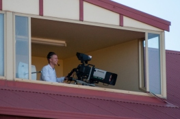 A happy cameraman atop the grandstand at the KBRC.