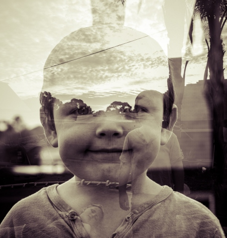 The first day of being five   double exposure