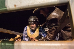 Paid-up, first-time bullrider waits for the chute to open before he gets nailed   DC Solutions Rodeofest Kalgoorlie.