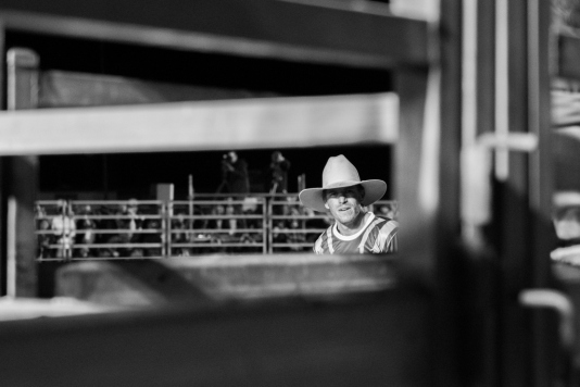 Bullfighter David Martin waits for the chute to open   DC Solutions Rodeofest Kalgoorlie