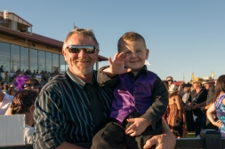 Happy racegoers at the Kalgoorlie Cup.
