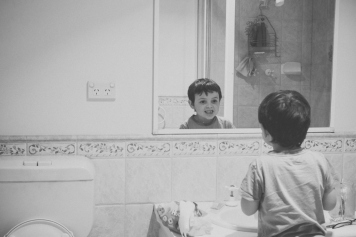 The obligatory staring-into-the-mirror-and-checking-out-the-gap, moments after you lose your first tooth.