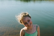 Carys at the rock dam.
