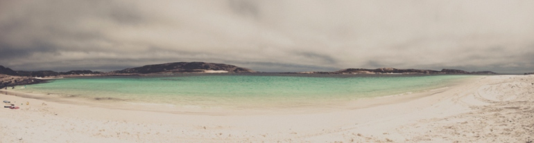 Little Wharton beach on a cloudy day - remote south coast of Western Australia.